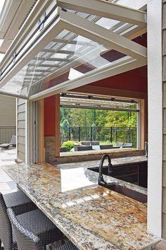 Facade Design, House Design, Kitchen Window Bar, Skaneateles Ny, Pool Remodel, Backyard Patio Designs, Custom Kitchens, Florida Home, Window Design