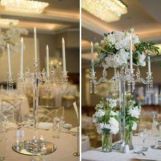 Glass candelabra centrepieces for a magical wedding at Trim Castle Hotel Wedding Venue Decorations, Wedding Venues, Table Decorations, Glass Candelabra, Magical Wedding, Centrepieces, Floral Arrangements, Castle, Home Decor