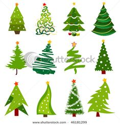 Collection Of Christmas Trees - Christmas Tree Vector Clip Art ...