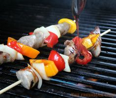 The Freshman Cook: Sausage, Pepper, and Onion Kabobs w/ a Boiled Cider Drizzle / #SundaySupper