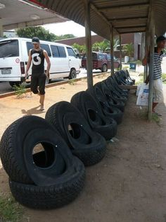 Bus station in South Africa. Tire Furniture, Upcycled Furniture, Waste Management Company, Tire Craft, Garden Rack, Roots And Wings, Tire Chairs, Tyres Recycle, Old Tires