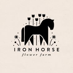 Logo for Iron Horse Flower Farm, designed by The Homegrown Studio. - Flower farm branding, horse, flowers, rustic, elegant, scandinavian, equestrian, handmade, bold, feminine, floral, botanical, farmy. Horse Flowers, Cut Flowers, Brand Identity Design, Branding Design, Flower Farm, Logo Desing, Sun Logo, Circle Logos, Travel Logo