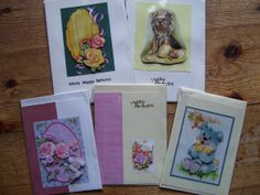 Selection of five greetings cards by CrowCottageCrafts on Etsy, $9.00