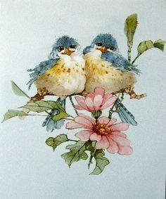 Carolyn Shores Wright Blue Birds Pink Flower Blossoms - 999 x 1456 Funny Birds, Cute Birds, Art And Illustration, Watercolor Bird, Watercolor Paintings, Watercolors, China Painting, Bird Drawings, Bird Pictures