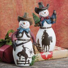 Cowboy Snowman Pardners Set of 2