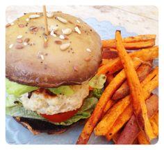 Turkey Burger with a Portobello Bun & Sweet Potato Fries. Gluten Free, Diary Free & Paleo. Recipe on www.thelittlegreenspoon.com
