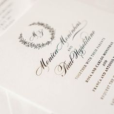 """White cardstock and black ink. Such a classic statement. Great to use if you are having a black tie wedding.   """"Black tie is less formal than white tie and consists of a black or navy tuxedo, white dress shirt with French cuffs and a turn d Spring Wedding Invitations, Traditional Wedding Invitations, Minimalist Wedding Invitations, Letterpress Invitations, Letterpress Wedding Invitations, Elegant Invitations, Wedding Invitation Design, Wedding Stationery, Invitation Layout"""