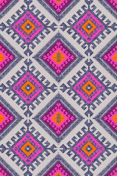 Shakami design by holli_zollinger - Bold tribal fusion design in neon pink and orange with blue and gray accents in a geometric pattern on fabric, wallpaper, and gift wrap.  Beautiful colorful geometric pattern with a tribal twist. #geometric #tribal #neon #design #wallpaper #fabric #crafty #diy makeit #designs #designer
