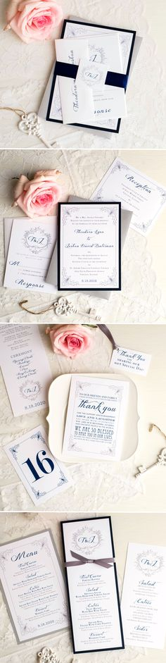 Monogram Wedding Invitations and Corresponding Reception Thank You Cards, Menus, Table Numbers and Ceremony Programs Monogram Wedding Invitations, Classic Wedding Invitations, Wedding Invitation Design, Wedding Stationary, Wedding Events, Wedding Day, Wedding Things, Wheat Wedding, Party Planning