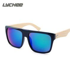 42038b5c132f3 LYCHEE New 2016 Bamboo Sunglasses Men Wooden Sunglasses Brand Designer  Mirror Original Wood Sun Glasses Oculos de sol