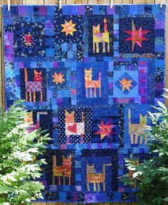 In the Night Garden, cats and stars, quilt by Kristin Shields.