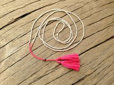 Long Silver Beaded Necklace, Fuchsia Tassel, Casual Chic Dainty Necklace, Delicate Jewelry, Boho Necklace, Fluo Pink, Spring Summer Fashion. $22.00, via Etsy.