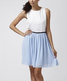 Love this Blue & White Floral Eyelet Fit & Flare Dress  24.99  Moon Collection on #zulily! #zulilyfinds