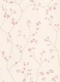Blossom Tree Pink (3406688) - Laura Ashley Wallpapers - A delicate floral-trail design of oriental blossoms in a pretty pink shade on a creamy beige background. Perfect for adding height and stylish beauty to your walls. Please request a sample for true colour match.