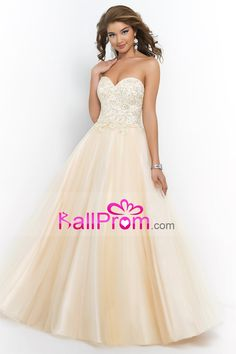 2015 A Line/Princess Sweetheart Lace Bodice Prom Dress With Beads Corset Tie Back