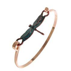 "Patina Dragonfly Bracelet Rose Gold Tone & Patina / Lead&nickel Compliant / Metal / Hook Cuff Closure / Dragonfly Bracelet •   DIAMETER : 2 1/4"" •   TOP FACE : 3/4"" X 1 1/4""  •   COOPER/PATINA R.E.A.L Jewelry Jewelry Bracelets"