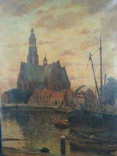 Willem Smith (1861-1954). Maassluis. Kerk en haven.