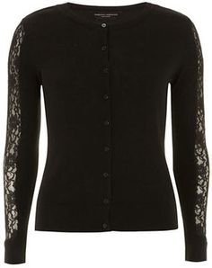 Black lace insert cardigan