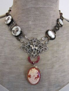 french ladies - vintage shell cameo assemblage necklace with joan of arc by the french circus