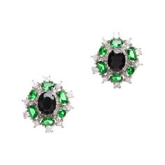 """Love this! Found it on Unlimited Beauty... Bring on the old Hollywood charm with the glamorous and sparkly Barbara Earrings. Featuring an abundance of emeralds & CZ , it doesn't get more extravagant than this! - Silverplate, CZ, emerald - Approximately 1"""" x 3/4"""" - Post back for pierced ears Item # BLE20001007"""