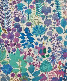 Papier peint (Liberty Art Fabrics Fresco Linen Union in Lagoon) Motifs Textiles, Textile Prints, Textile Patterns, Print Patterns, Textile Design, Fabric Design, Deco Floral, Motif Floral, Floral Prints
