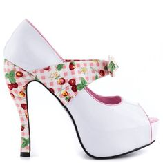 Logan - #White #Pink and #Cherry #Print #Woman #Fashion #Shoe Bettie Page