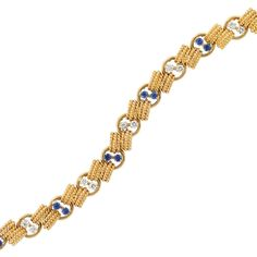 Gold, Diamond and Sapphire Bracelet Van Cleef & Arpels   18 kt., composed of rope-twist gold bar links joined by polished gold circle links, accented by alternating pairs of 14 round diamonds approximately 1.10 cts., and 14 round sapphires approximately 1.35 cts., signed Van Cleef & Arpels, no. 81.347, with French import mark, approximately 25.3 dwts. Length 7 5/8 inches.