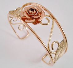 GF Cuff Bracelet Open Rose Gold Filled H.E. by Libbysmomsvintage