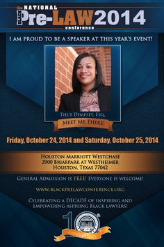 Meet Tiece Dempsey, Esq., M.H.A., Law Clerk, Chambers of Chief Judge Vicki Miles-Lagrange, U.S. District Court for the Western District of Oklahoma (Oklahoma City, Oklahoma),  at the 10th Annual National Black Pre-Law Conference and Law Fair 2014 on Friday, October 24, 2014 and Saturday, October 25, 2014 at the Houston Marriott Westchase in Houston, Texas.   Free of charge! Everyone is welcome! Register today! www.blackprelawconference.org/ #blackprelawconference…