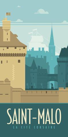 KAKĆ ‰ MONODÃ ‰ CO – Vintage illustration of the city of Saint-Malo in Brittany – D … – Travel and Tourism Trends 2019 Poster S, Poster Prints, Art Print, Posters Decor, Pub Vintage, Wedding Vintage, Vintage Art, Travel Illustration, Photo Illustration
