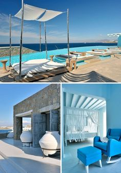 63 Ideas for bedroom hotel style mykonos greece Santorini, Beautiful Hotels, Beautiful Places, Piscina Hotel, Cavo Tagoo Mykonos, Outdoor Living, Outdoor Decor, Mediterranean Style, Greek Islands
