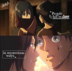 Attack on Titan Sad Anime, Anime Manga, Anime Qoutes, Manga Quotes, Eren X Mikasa, Kimi No Na Wa, Eremika, People Fall In Love, Sweet Pic
