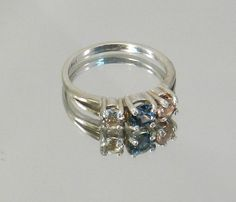 Montana Sappire Ring with Oregon Sunstone by SunriseSunstones