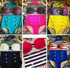High waisted swimsuits.