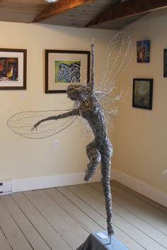 Dancing and flying wire fairies, metal art, Wire fairy sculpture. Breathtaking one of a kind stainless steel wire fairy sculpture. Fantasy Wire, Sculpture Art, Wire Sculptures, First Art, Faeries, Installation Art, Metal Art, Garden Art, Fairy