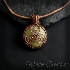 Celtic Triskele Pendant in Copper and Green Calcite