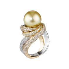 18K 3-gold fully diamond-paved ring. 393 diamonds, and one gold pearl.
