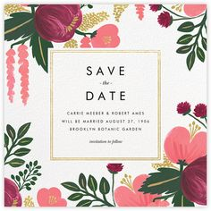 Raspberry Floral (Save the Date) - Gold - Paperless Post