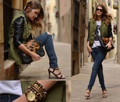 absolutely love this look - and the military vest+leather jacket combo!