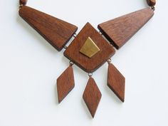 Vintage Modernist teak wood necklace 1950s.
