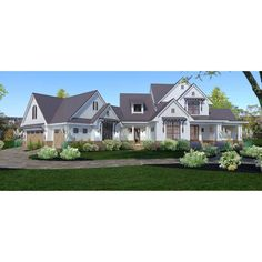 TheHouseDesigners-3151 Construction-Ready Large Farm House Plan with Slab Foundation (5 Printed Sets) 4000 Sq Ft House Plans, House Plans 2 Story, Large House Plans, Best House Plans, Modern Farmhouse Plans, Farmhouse Style, Coastal Farmhouse, Architectural House Plans, House Blueprints