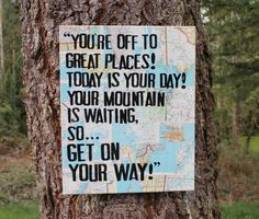 """Great for grad gift!  READY TO SHIP 16x20 """"You're off to great places..."""" quote canvas by #Dr.Seuss"""
