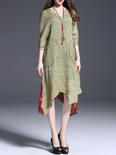 Asymmetric Linen-silk Midi Dress