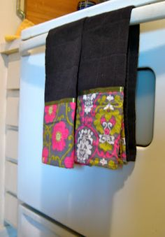 DIY Embellished Dish Towels. Fun and easy to do.