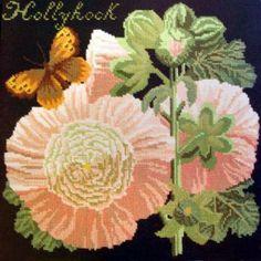 Hollyhock needlepoint kit from Elizabeth Bradley
