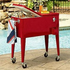 Rolling Outdoor Cooler Cart modern food containers and storage