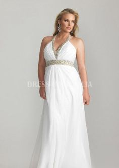 Sequins Waistband and Halter Chiffon Plus Size Celebrity Evening Dress / Prom Dr . - Evening Dresses and Fashion Unique Prom Dresses, Prom Dresses With Sleeves, Backless Prom Dresses, Beautiful Prom Dresses, Dress Prom, Prom Gowns, Maxi Dresses, Party Dresses, Formal Dresses Online