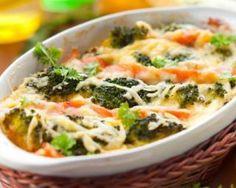 Gratin léger de brocoli, chou-fleur et saumon