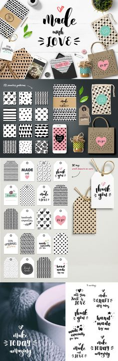 Handmade DIY & Craft Bundle with labels, cards, tags, overlays and seamless patterns. $16 https://crmrkt.com/lXMoW #affiliate