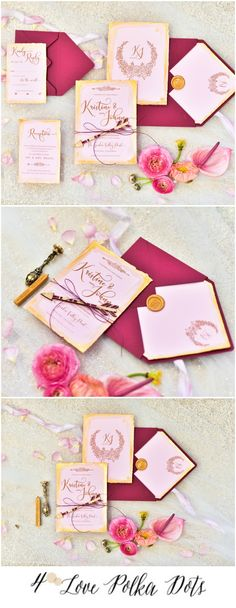 Pink, Gold & Burgundy Boho Wedding Invitation #boho #bohemian #glam #weddingideas #pink #gold #burgundy